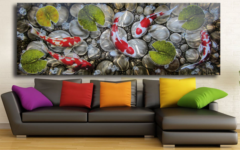 Metal wall art for Koi metal wall art